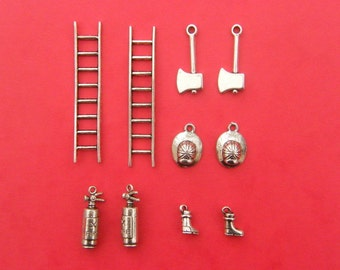 The Fireman Collection - 10 antique silver tone charms