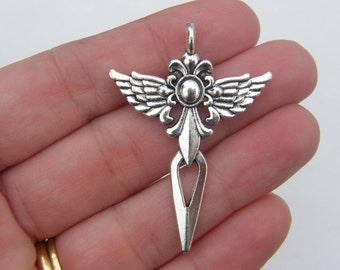 4 Wing cross sword pendants antique silver tone C9