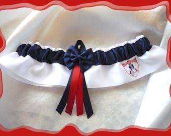 White Satin Double Bow Wedding Garter Keepsake Made with VTG Patriots Logo