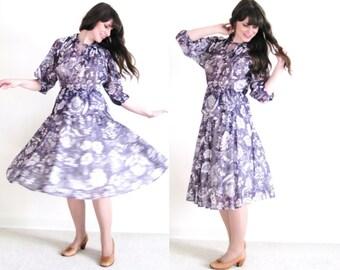 Boho Dress / 70s Sheer Purple Floral Gypsy Dress