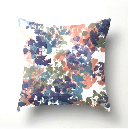 Gingko No2 Decorative Throw Pillow Purple Teal Peach Sage