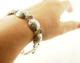 SALE: Engraved Bracelet - Sterling Silver - Vintage