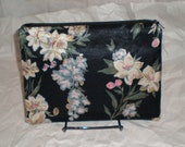 Satin floral zippered pouch