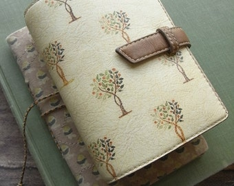 leather planner, trees, handstitched, leather binder, leather organizer, refillable journal, natural planner, tree print, for filofax refill