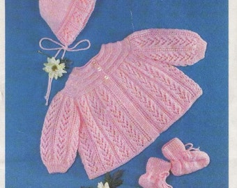 Baby KNITTING PATTERN  - Baby Jacket/Sweater, Bonnet and Booties/Bootees PDF