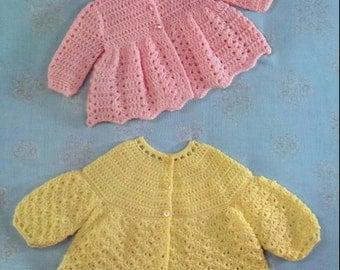 CROCHET PATTERN - Vintage pattern for Baby Matinee Jackets, Coats DK