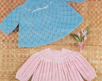 Baby Knitting Pattern - 2 Angel tops for Baby - sizes 18 and 19 inches 4 ply DOWNLOAD