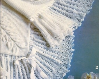 Baby Knitting PATTERN - Beautiful Baby Bebe Heirloom Christening Shawl with Leaves and Frills special Occasion