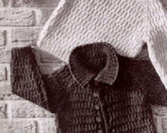 Vintage BABY KNITTING PATTERN - Bulky/Chunky Cardigan Jacket and Sweater
