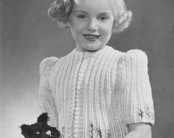 Vintage KNITTING PATTERN - Girl's Jacket 6 to fit 6-8 years