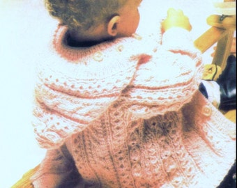 DOWNLOAD PDF Baby Knitting PATTERN - Aran Baby Jacket - dk chest size 20 inches