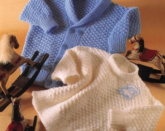 Instant Download Knitting PATTERN - Baby/ Child's Sweater and Jacket - DK - 18ins up to and including 23 ins chest sizes