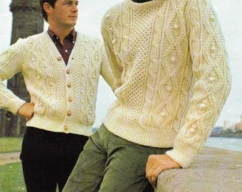 Knitting Pattern - Men's Cable Pullover - pictured on right SIZES 40 to 46