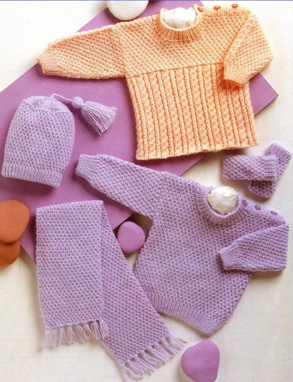 BABY KNITTING PATTERN Sweaters Hat Mittens and scarf 12 to