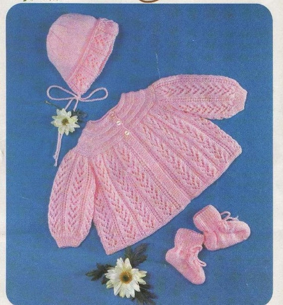 Knitting Pattern For Vintage Baby Bonnet : Baby KNITTING PATTERN Baby Jacket/Sweater Bonnet and