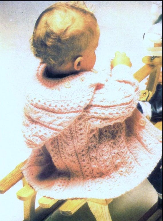 Knitting Pattern Baby Chest Sizes : Baby Knitting PATTERN Aran Baby Jacket DK chest size 20
