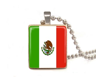 Mexican Flag Necklace | Mexico Necklace | Flag Charm | Mexico Pendant | Cinco De Mayo Jewelry | Flag Pendant | Wood Jewelry | Game Tile