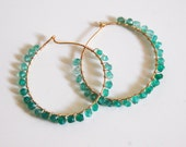 Shaded Green Quartz hoop Earrings -Gold filled Hoop Earrings- Unique Gift - For her