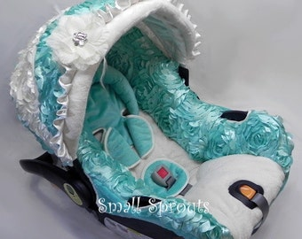 Aqua Blue 3D Rosette Roses with White 3D Roses/White Minky Infant car seat cover 5 piece set