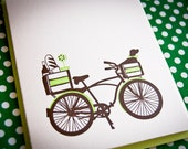 Springtime Dog and Bike Letterpress Valentine card