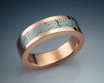 14k rose gold ring with Tambo Quemado meteorite inlay