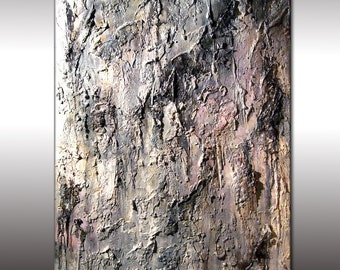 Original Textured Abstract Painting, Huge White ,Gray Contemporary Art, Modern Abstract fine art, by Henry Parsinia Large 48x36
