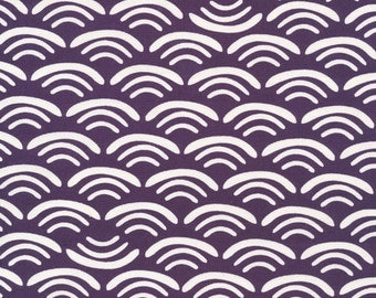 "Organic fabric by Cloud9, Koi Canvas by Rashida Coleman- Hale, Smile and Wave Plum  - 17"" left"