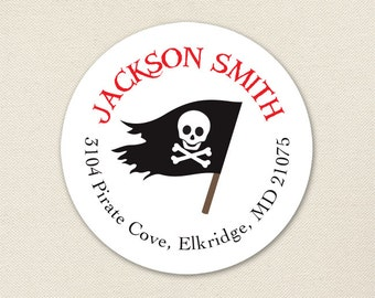 Pirate Address Labels / Pirate Flag Address Labels - Sheet of 24