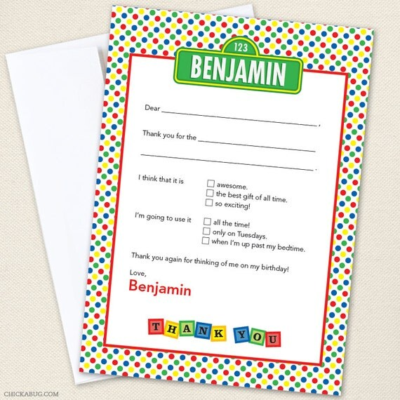 Sesame Street Party Thank You Cards - Professionally printed *or* DIY printable