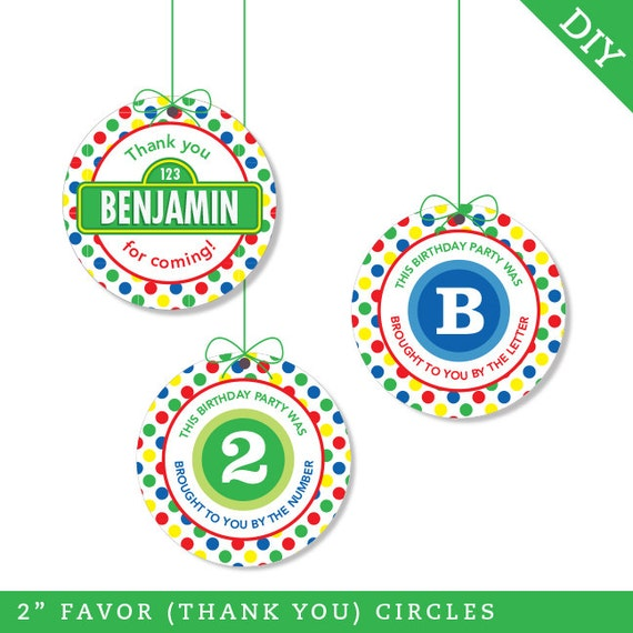 "Sesame Street Party - Personalized DIY printable 2"" favor circles"
