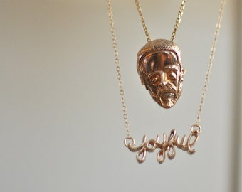 Weird Beard Love Bronze Head Necklace.