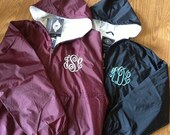 Rainjacket Pullover - Monogram Personalized Rain Jacket - 100% Flannel Lined - Waterproof and Wind Proof