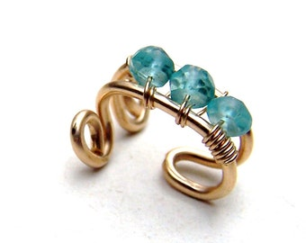 Gold Ear Cuff 14k Gold Filled Bridal Earcuff Apatite Jewelry