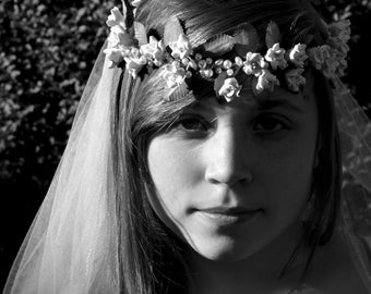 Eve - White Rose and Pearls Flower Crown Headpiece