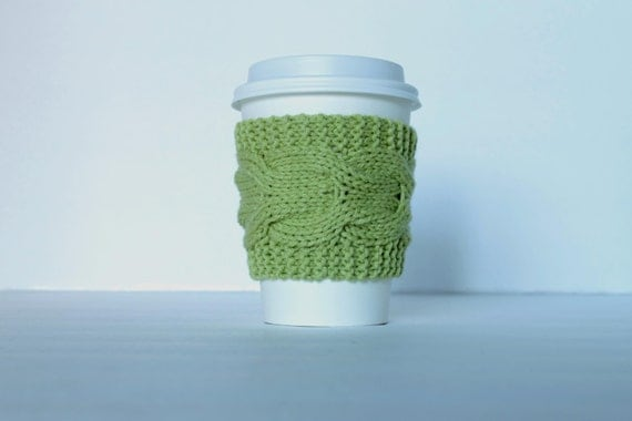 Sage Knit Coffee Cup Sleeve, Cup Cozy, Tea Coffee Sleeve,Graduation Teacher Gift, Wedding Favor, Coffee lover Gift