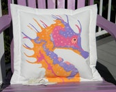 "Outdoor pillow spiny seahorse warm colors 20"" (50cm) cushion coastal undersea knobby handpainted Crabby Chris Original shelling beachcombing"