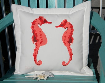 "Outdoor pillow SEAHORSES IN LOVE coral 20"" (50cm) pregnant father dad ocean reef coastal beach Crabby Chris Original pipefish sea life"
