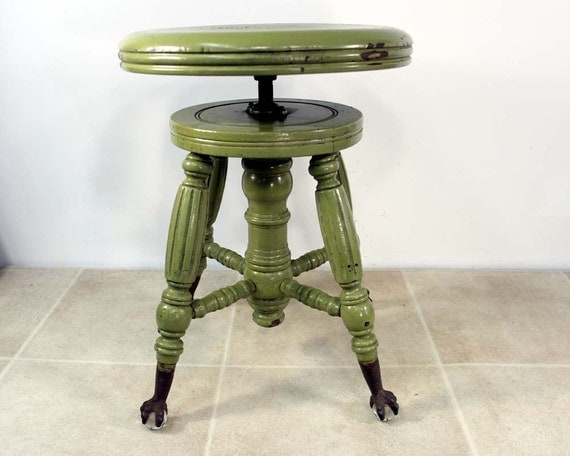 Antique Piano Stool With Glass Ball And Claw Feet Olive