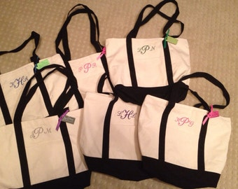 BRIDESMAID TOTES - Set of 9 Personalized Embroidered Custom Canvas Tote Bags