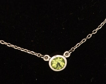 Bezel Set Peridot August Birthstone Sterling Layering Necklace and Bridesmaid gift