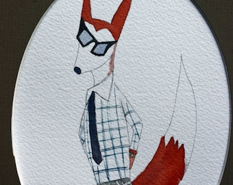 Hipster Boy fox, original watercolor, SALE, checks, sneakers, sunglasses, dressed up, clothing, children's art, woodland, fox in clothes