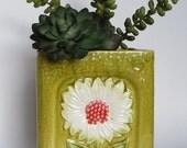 Vintage Planter 1970's  Flower Power ,  Medium Size Ceramic