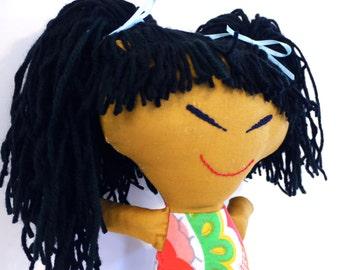 Asian Girl Rag Doll.  Handmade.  OOAK