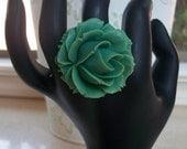 Green Rose Adjustable Ring