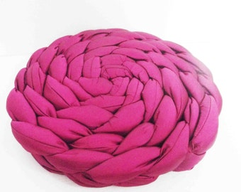 Pink Pillow/Braided/round pillow/pouf/floor pillow/textured throw pillow/origami/home decor/home gifts/housewares/home and living