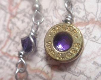 Upcycled Bullet jewelry dangle earrings... Premium 9mm Bullet Royal Purple crystal Dangle Earrings