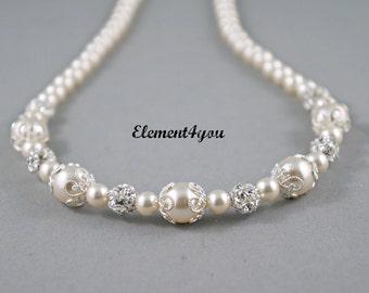 Bridal necklace Bridesmaid jewellery Wedding pearl Bridesmaid jewelry Rhinestone pearl silver Swarovski Pearls ivory white cream color