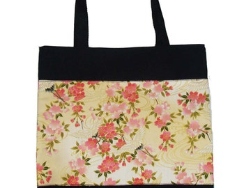USA Handmde Totebag Handbag with Pink Roses Flowers Pattern Cotton Fabric, New, Rare