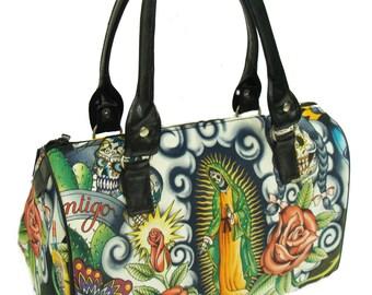 USA Handmade Handbag Doctor bag Satchel Style Flowers Contigo Latino Cultural Pattern Cotton Fabric Bag Purse, new