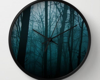 Wall Clock Foggy Forest Blue Clock Tree Trunks 10 inch Clock